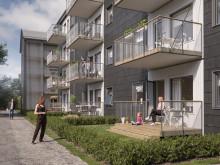 Illustration av trädgårdssida med balkonger & altaner, BoKlok Staben i Karlskrona.