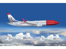 Norwegian's new Boeing 737 MAX aircraft decorated with its first American tailfin hero, Benjamin Franklin