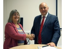 Professor Becky Strachan, Deputy Faculty Pro Vice-Chancellor of Northumbria's Faculty of Engineering and Environment, pictured with Nick Baveystock, ICE Director General.