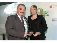 Cris Tomos and Kelly Davies at Social Enterprise Wales Awards