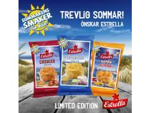 Estrellas Sommarsnacks 2019 i smakerna Chorizo, Tzatziki och SuperOstbågar