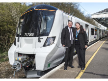 Retired driver Ian Twells and modern day driver Zornitsa Tsankova on launch day of new Moorgate train 25.03.19