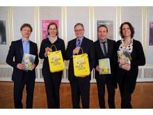 Mario Schröder, Dr. Skadi Jennicke, Prof. Ulf Schirmer, Cusch Jung und Franziska Severin stellten die Höhepunkte der Saison 2018/2019 der Oper Leipzig vor (v.l.)