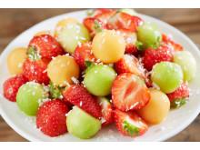 Jordbær- og melonsalat