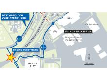 Karta ny gång och cykelbro Kungens kurva