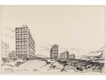 Byggekunst. Håkon Mjelva, Skivehus på Ammerud, 1962