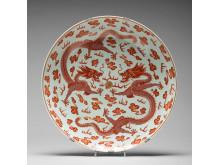 PRAKTFAT, porslin. Qingdynastin, med Guangxus märke och period (1874-1908).