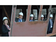 Councillor view new dredger under construction