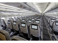 Alle 396 gæster på Spies' A330-fly får deres egen otte tommers touch-skærm, der byder på et væld at spillefilm, tv-shows og børneprogrammer.
