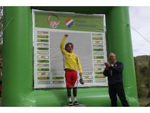 Martin Klette med gul ledertrøye etter NorgesCup Utfor i Nesbyen