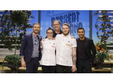 Finalisterna Malin Haak och David Knutsson tillsammans med Dessertmästarnas jury Sebastien Boudet, Magnus Johansson och Roy Fares. Foto: Kanal 5