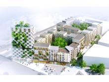 Planer på ny bebyggelse ovanpå en bussterminal intill pendeltågsstationen i Barkarby Station.