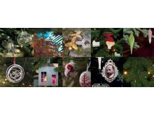 Collage av tidligere pynt på Maihaugens juletre