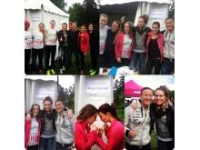 Härlig energi bland tjejerna i #TeamStockholm i B.A.B.Y.- tältet på Vår Rusets arena 27 maj