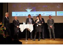 Start-Up Stockholms partners på scen under Start-Up Stockholms Galakväll