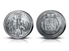 Suomi-neito ja Vainamoinen hopeapatinoitu pronssimitali