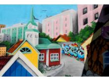 Muralmålning på Astrid Lindgrens Näs