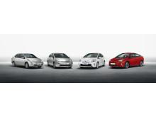 Fyra generationers Prius
