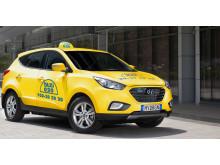 ix35 Fuel Cell som Taxi 020-bil. Bilden är ett montage