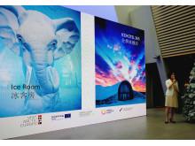 Lynn Li, Visit Swedens landschef för Kina, presenterar den svenska delen av Arctic Europe.