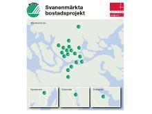 Karta Svanenmärkta bostadsprojekt (Svanenlogor)