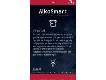 Alkosmart- första sidan i appen.