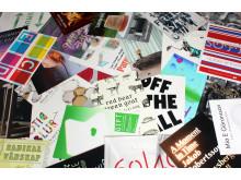 Ett axplock av affischerna till 10 års utställningar på Gustavsbergs Konsthall.