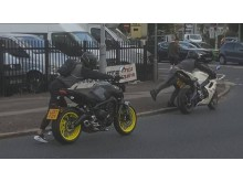 Suspects stealing the Yamaha motorbike