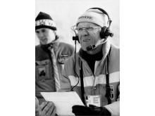 Håkon Brusveen som sportskommentator under OL i Sarajevo i 1984
