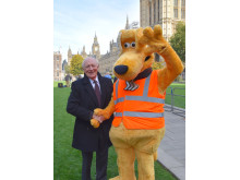 Horace with (Baron) Neil Kinnock - former EU commisoner for road safety outside Parliament - SaveKidsLives