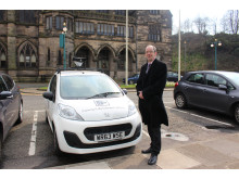 SAFETY IS A PRIORITY: Council leader Colin Lambert with the mobile CCTV vehicle