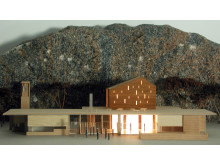 Modell av kyrkan i Amhult, Torslanda utanför Göteborg