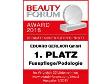 Beauty Forum Award 2018: Gesamtkundenzufriedenheit
