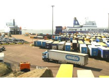 Trailers and cars in Port of Gothenburg
