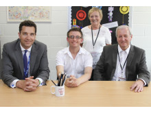 Ed Timpson joins Gary Oliver, Chair of the Student Council, Marion Sherriff, Chair of Governors and Stuart Pidgeon, Headteacher during his tour of Redwood