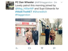 Meg Hillier MP on patrol in Hackney