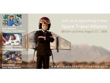 Karin Nilsdotter, Christer Fuglesang, Rikard Steiber launching Space Travel Alliance