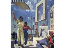 """Välfärdselement. """"Building Peace"""", skiss av Alexander Deineka för en mural på First National Art Exhibition of Soviet Russia, Moskva, 1960."""