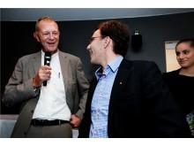 Mats Gabrielsson med vinnaren Christian Jonsson på Audi Forum