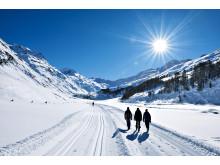 Winterwanderung im malerischen Fextal im Engadin, Kanton Graubünden