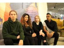 Textpristagare 2018: Victor Boström, Nicole Charro, Clara Olausson, Fares Hamed