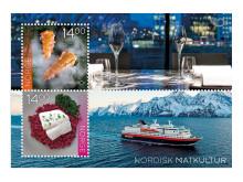 Sammlerbogen mit beiden Marken; oben: Küchentisch im Maaemo, unten: Hurtigrutenschiff MS Polarlys