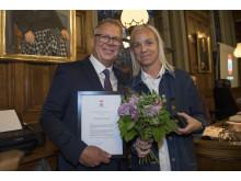 Caroline Seger får Helsingborgs stads hederstecken.