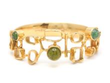 Moderna 10/5, Nr: 97, ROBBERT, armband, 18K guld, 3 gröna cabochonslipade turmaliner
