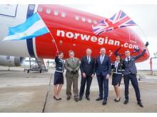 Lansering av Norwegians första flyg till Buenos Aires på London Gatwick