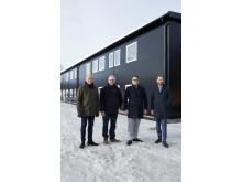 Lars Osseén (produktansvarig värme och kyla, Sundsvall Energi), Anders Jonsson (VD, Sundsvall Energi), Petter Boström (VD, Peritas) och Andreas Forsell (fastighetschef, Peritas)