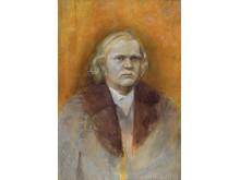 Olli Lyytikäinen, Självporträtt som Johannes Putkonens farfars far / Self-portrait as the Father of Johannes Putkonen's Grandfather, 1974. Akvarell och pastell / Watercolour and pastel