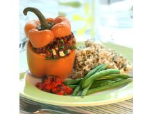 Receptbild bakad paprika med ris och korn