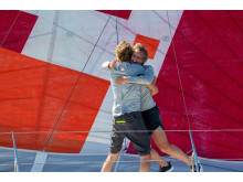 Pip Hare and Ysbrand Endt celebrate TJV finish