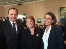 The Swedish Prime Minister, Mr. Stefan Löfven, the President of Chile, Ms. Michelle Bachelet, and Ms. Caroline Edelstam,  President of the Edelstam Foundation.